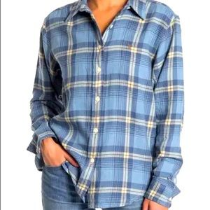 FRYE BLUE AND WHITE FLANNEL PLAID SHIRT XS